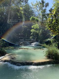自然,風景,アウトドア,虹,景色,滝,癒し,ラオス,ルアンパバーン