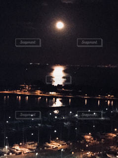 風景,海,夜,屋外,水面,海岸,月