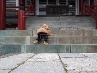 神社,階段,子供,後姿