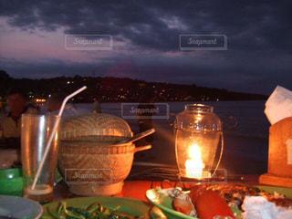 風景,海,ディナー,ビーチ,ライト,バリ島,インドネシア,ロウソク