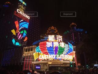 建物,夜,屋外,電気,キラキラ,明るい,カジノ,マカオ,点灯