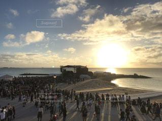 風景,夕日,フェス,屋外,ビーチ,音楽,夕陽