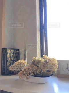 ドライフラワー,時計,光,紫陽花,洋書,午後,昼間,優しい色,ミルクティー色