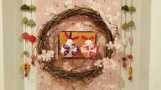 花,桜,うさぎ,アート,花輪,リース,装飾,飾り