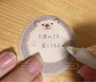 文字,手,指,ハリネズミ,メッセージ,爪,手書き,日本語,ふせん