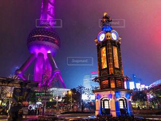 夜景,タワー,ライトアップ,旅行,中国,時計台,上海,海外旅行