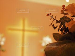 植物,十字架,チャペル,草木,厳か,ミルクティー色,薄茶色,屋内室内