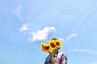 空,ひまわり,黄色,イエロー,一眼レフ,カラー,黄