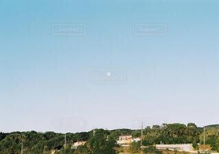自然,風景,空,屋外,白,青,街,樹木,月,満月,コントラスト,青色,日中,青と白,朝月