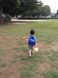 子ども,風景,公園,木,芝生,屋外,後ろ姿,歩く,散歩,バケツ,草,洋服,人物,背中,人,Tシャツ,幼児,少年,男の子,遊び場,リュック,3歳