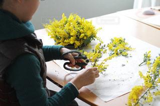 春,フラワーアレンジメント,ミモザ,yellow,スクール,オンシジューム,フラワーアレンジメント教室