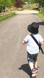 子ども,公園,夏,後ろ姿,帽子,北海道,人物,背中,人,後姿,男の子,おでかけ,3歳,チューリップ公園