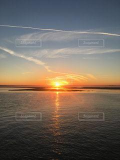 自然,風景,海,空,屋外,太陽,黄色,水面