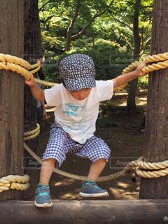 自然,夏,屋外,白,帽子,樹木,洋服,人物,人,Tシャツ,シャツ,幼児,男の子,木目,キャップ,遊び場,アスレチック,お出かけ,夏服,半袖