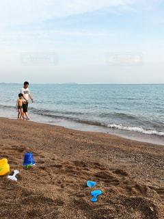 海,空,屋外,砂,親子,砂浜,散歩,海岸,父親,男の子,父,ポートディクソン