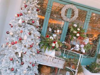カフェ,風景,花,冬,屋内,雪,クリスマス,可愛い,たくさん,装飾,おしゃれ,クリスマス ツリー