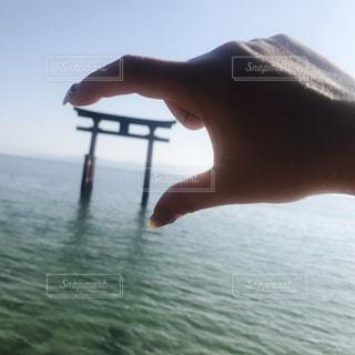 白鬚神社の琵琶湖に浮かぶ鳥居の写真・画像素材[2068996]