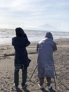 海,カメラ,親子,後ろ姿,山,休日