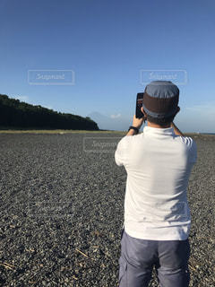 男性,自然,風景,海,富士山,後ろ姿,大地,背中,三保の松原