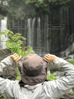自然,風景,後ろ姿,景色,滝,トレッキング