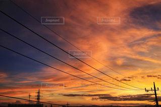 電線と空模様の写真・画像素材[2426511]