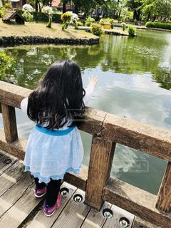 公園,屋外,後ろ姿,池,女の子,人物,背中,人,幼児,日中