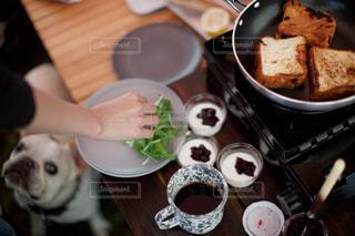 朝ごはんとワンちゃんの写真・画像素材[2675126]