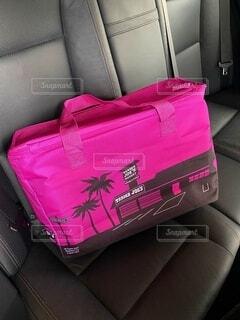 スーツケースの上に座っている荷物の写真・画像素材[3692594]