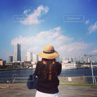 青空,晴天,後ろ姿,景色,街,都会,横浜,私