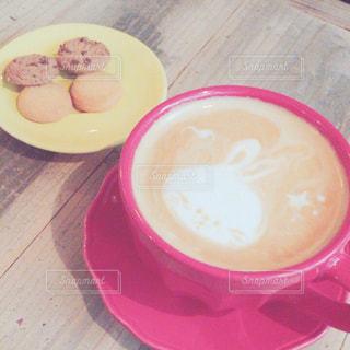 カフェ,うさぎ,アート,テーブル,クッキー,カップ,ラテアート