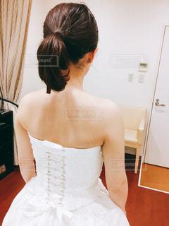 後ろ姿,ドレス,嫁,ウェディング,試着