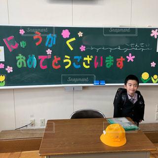 帽子,人物,人,可愛い,黒板,教室,ディスプレイ,少年,息子,小学校,新一年生