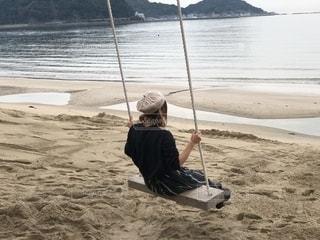 海,砂浜,ブランコ,女の子,浜辺,九州