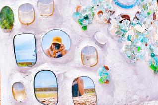 海,自撮り,島,鏡,セルフィー,離島,シーグラス