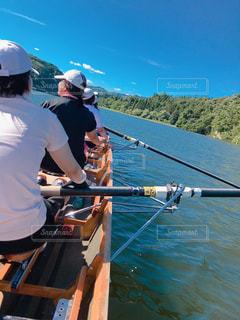 夏,スポーツ,ボート,後ろ姿,水上