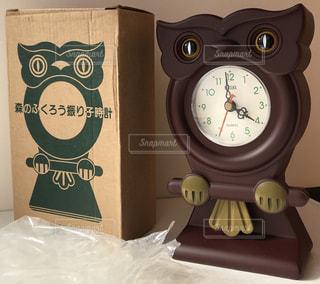 インテリア,茶色,時計,レトロ,置物,ふくろう,梟,昭和,ブラウン,ビンテージ,フクロウ,振り子時計,ダークブラウン,置時計,焦げ茶