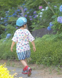 庭に立っている小さな女の子の写真・画像素材[2260934]