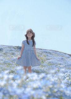 野原に立っている小さな女の子の写真・画像素材[2377261]