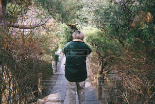 木の横に立っている男の写真・画像素材[2126742]