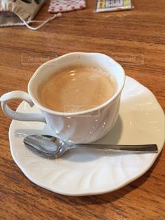コーヒー,茶色,スプーン,休憩,ソーサー,カフェオレ,ベージュ,コーヒーカップ,ミルクティー,ひと休み,ミルクティー色