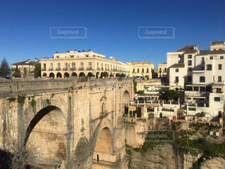 自然,橋,青空,茶色,景色,街,観光,崖,旅行,スペイン,ロンダ,ミルクティー色,ヌエボ橋