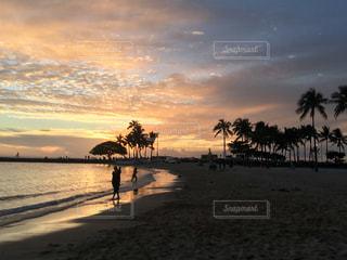 夕日とヤシの木の写真・画像素材[2370974]
