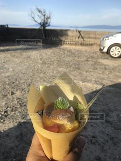 食べ物,空,屋外,景色,プリン,クレープ,ベージュ,甘いもの,眺め