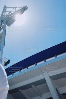 空,夏,屋外,青,暑い,日差し,光,スタジアム,#太陽,#快晴