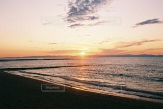 風景,海,空,太陽,ビーチ,雲,夕暮れ,水面,光