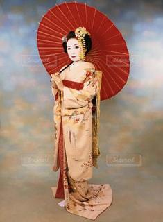 女性,傘,京都,ピンク,着物,人,和傘,華やか,舞妓,白塗り
