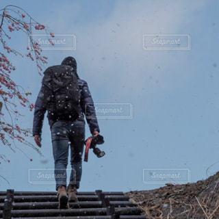 季節外れの雪が舞う中の写真・画像素材[2146933]