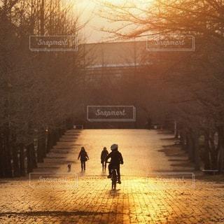 夕日の前の歩道を歩いている人の写真・画像素材[3394849]