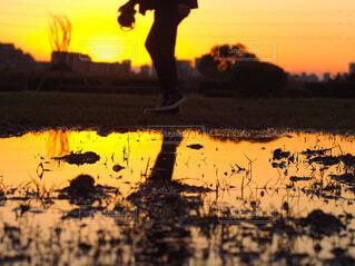 水の体に沈む夕日の写真・画像素材[4193006]