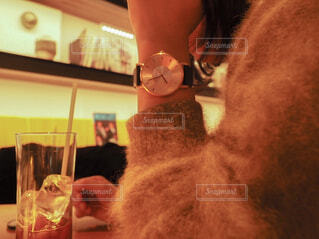 鏡の前に座ってカメラのポーズをとる猫の写真・画像素材[4314532]